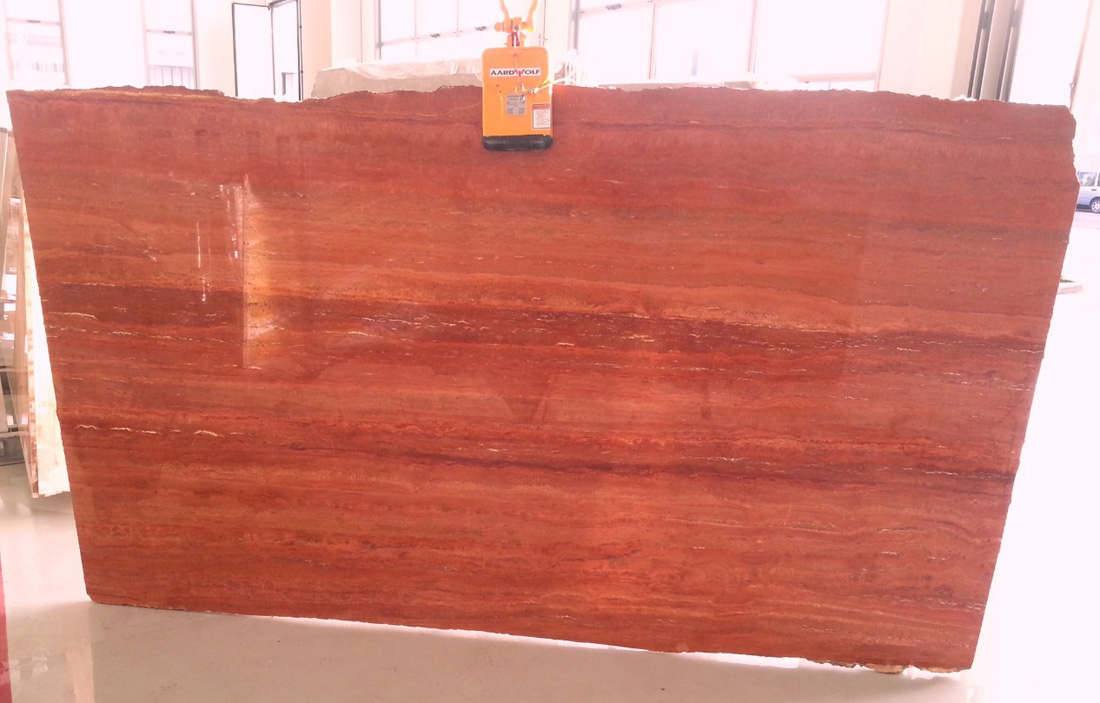 Iranian Red Travertine Slabs Polished Travertine Stone Slabs