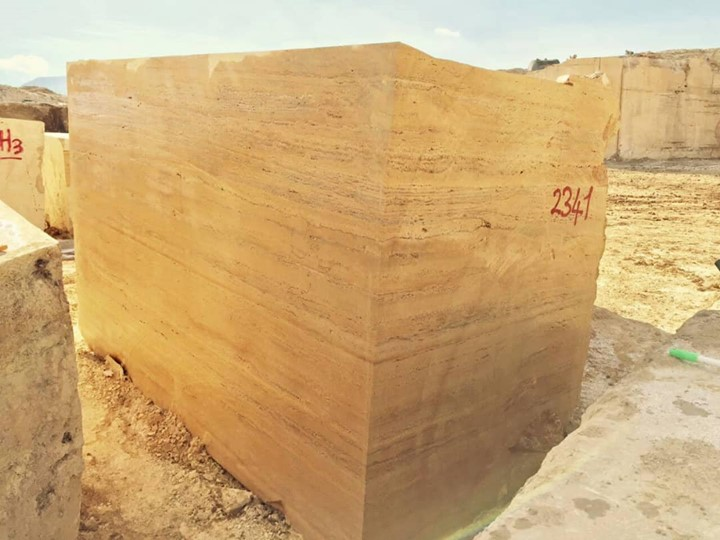 Iranian Yellow Travertine Stone Blocks