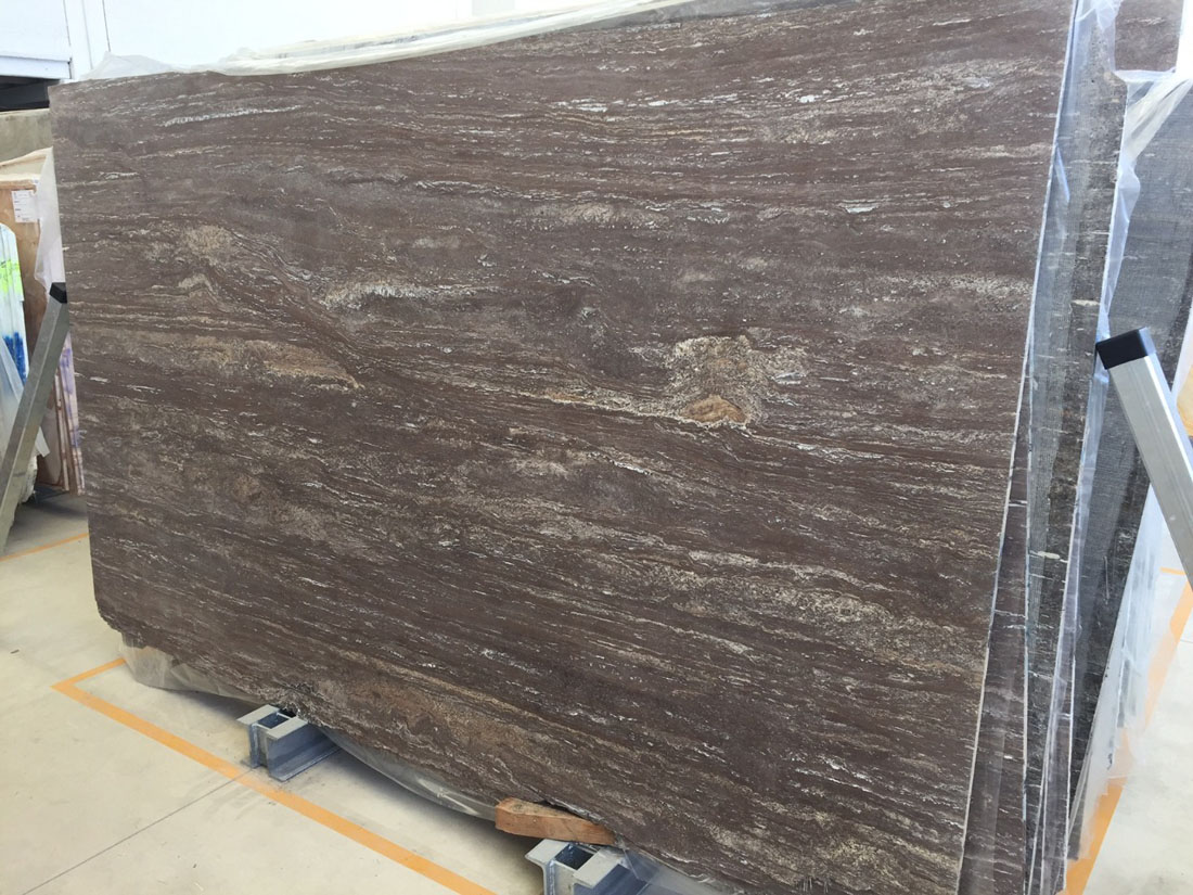 Iron Brown Travertine Slabs with Top Quality