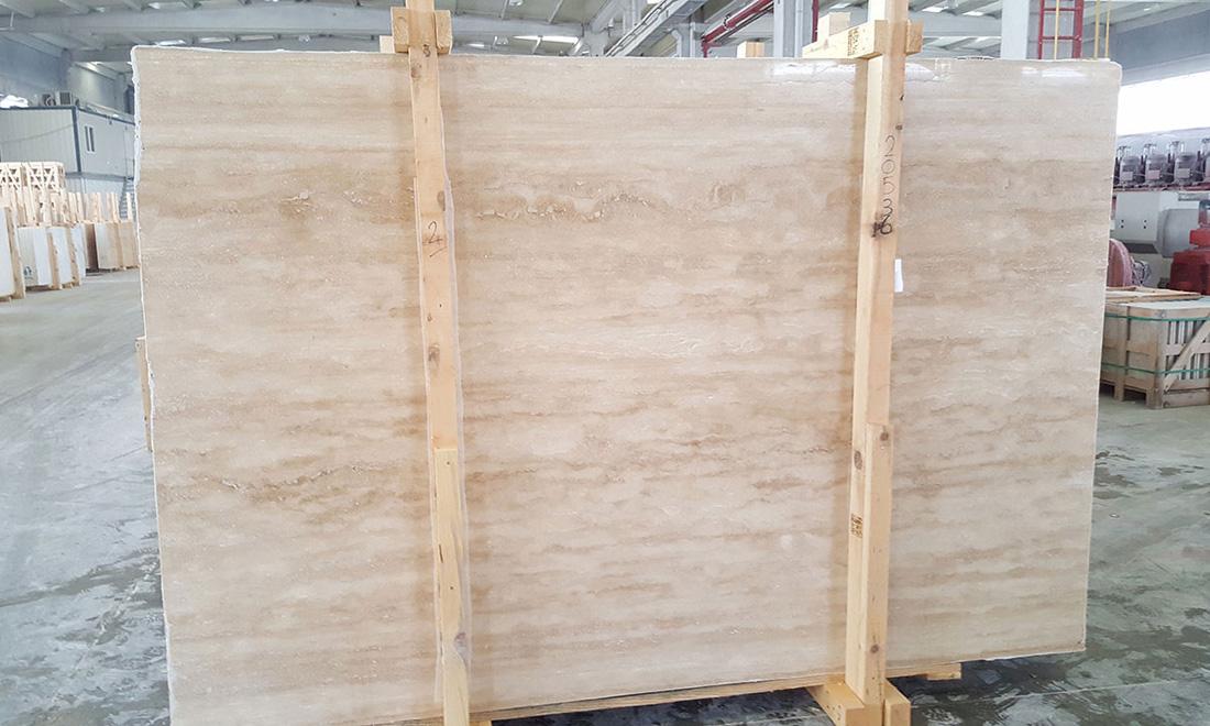 Ivory Filled Polished Travertine Slabs Yellow Stone Slabs