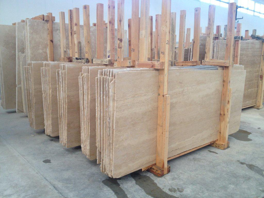 Ivory Light VeinCut Filled Honed Travertine Slab