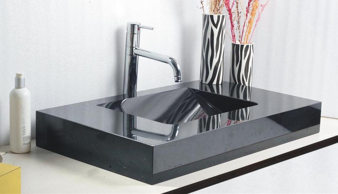 Jet Black 27 Polished Granite Sinks 60x40x13