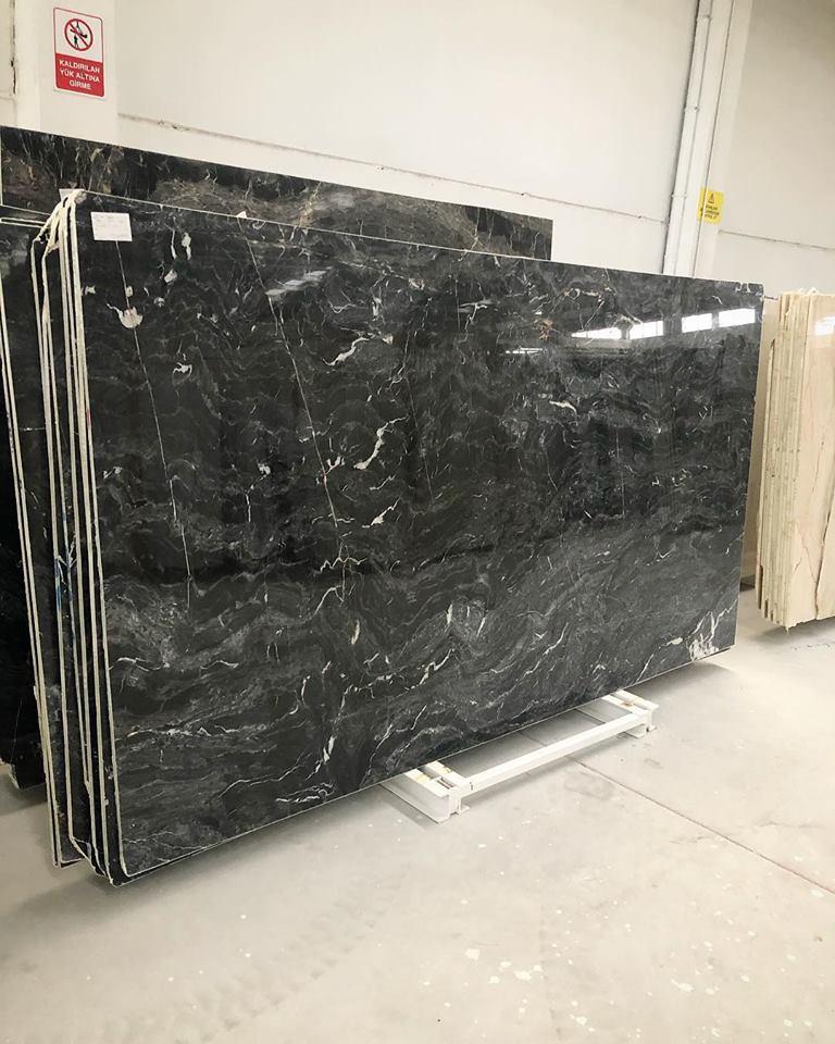 Konya Black Slab Polished Black Marble Slabs
