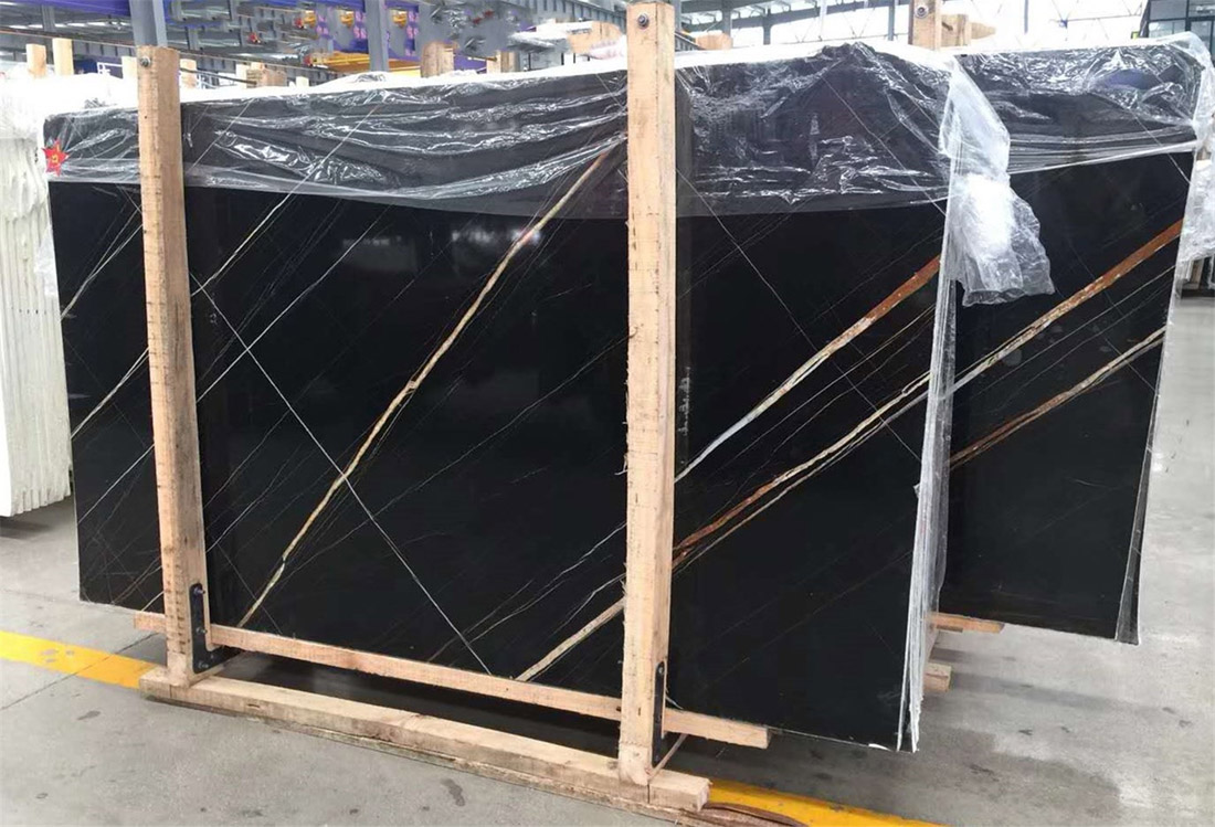 Lauren Black Gold Marble Slabs Polished Marble Slabs