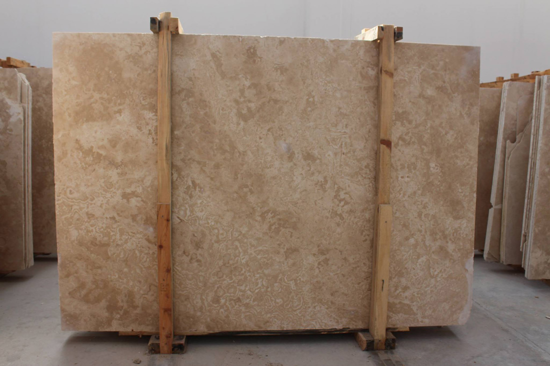 Light Travertine Honed and Filled Slabs