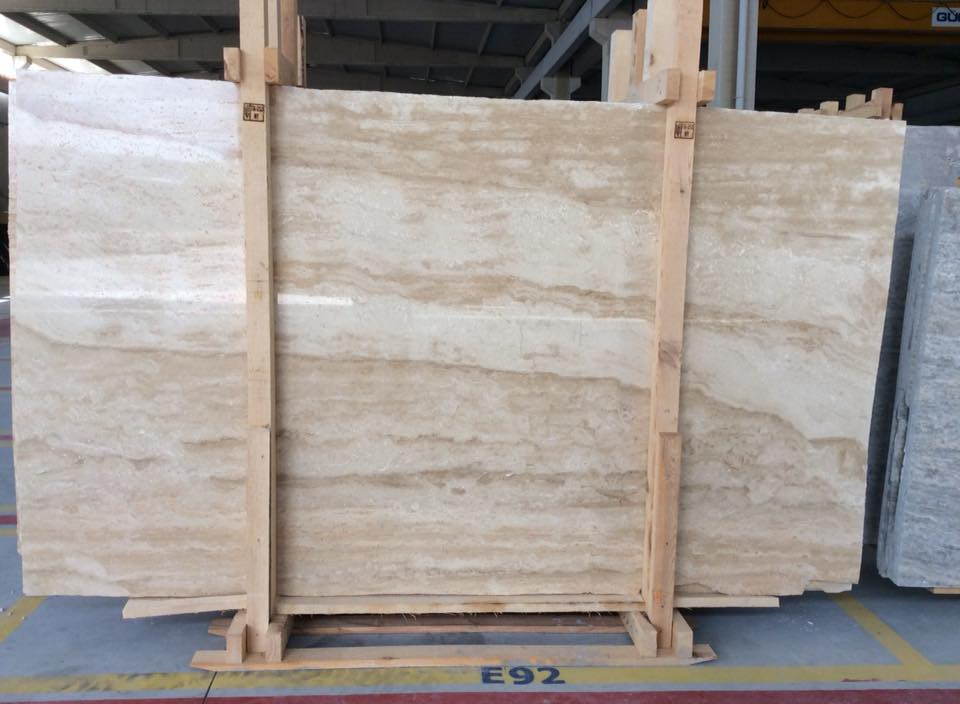 Light Travertine VC Filled Polished Beige Travertine Slab