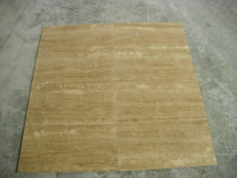 Light Walnut Veincut Filed & Honed Travertine Stone Tiles