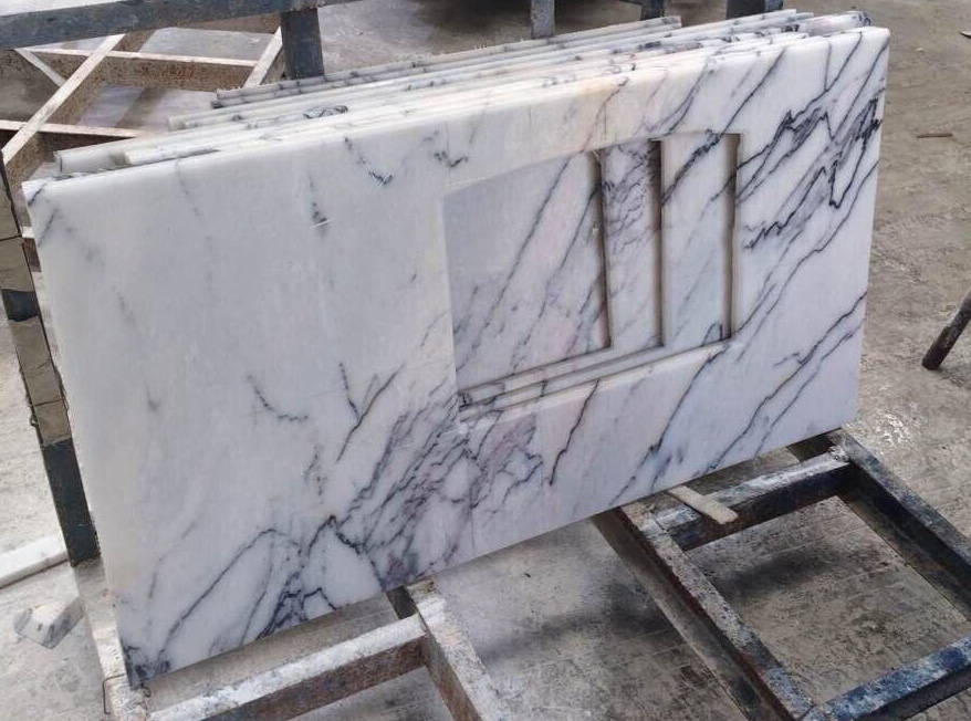 Lilac White Marble Polished Countertops