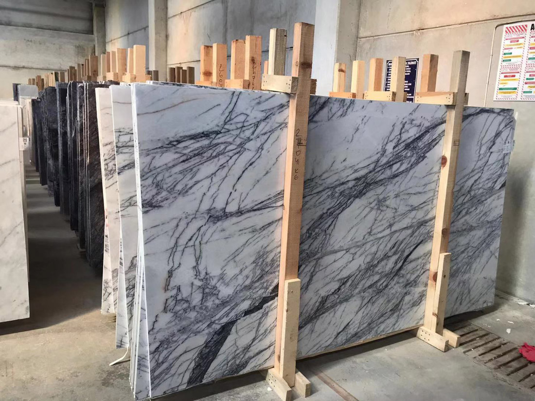 Lilac White Marble Slabs White Turkish Polished Marble Slabs