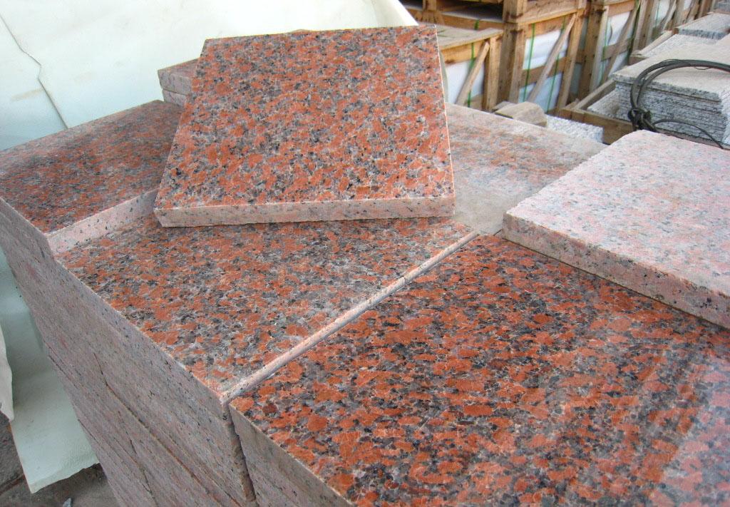 Maple Red Granite Paving Stone Polished Red Granite Paving Tiles