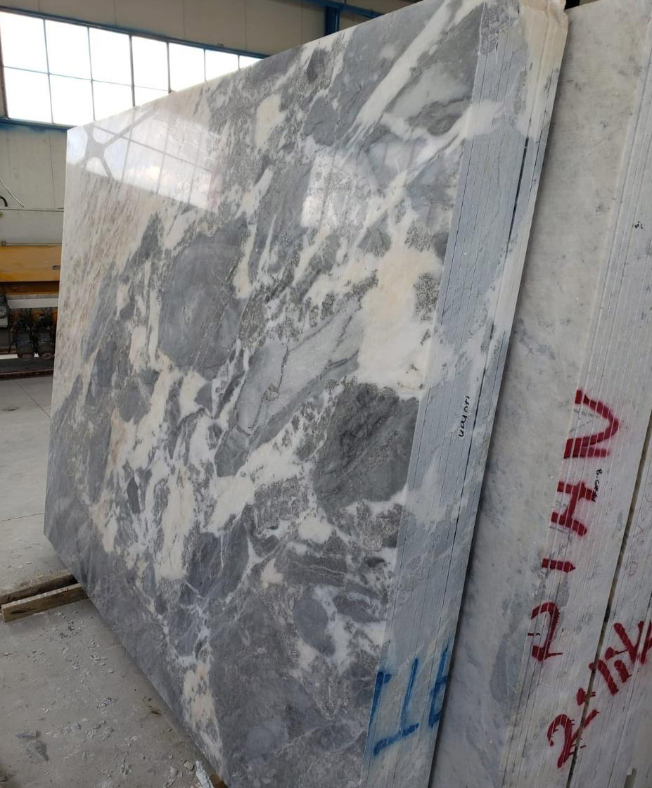 Mappa White Slab Turkish Polished Marble Slabs for Countertops