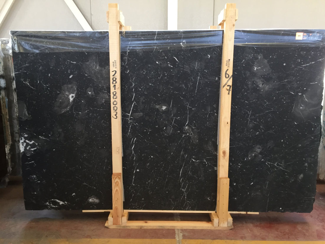 Markina Black Marble Slabs Honed
