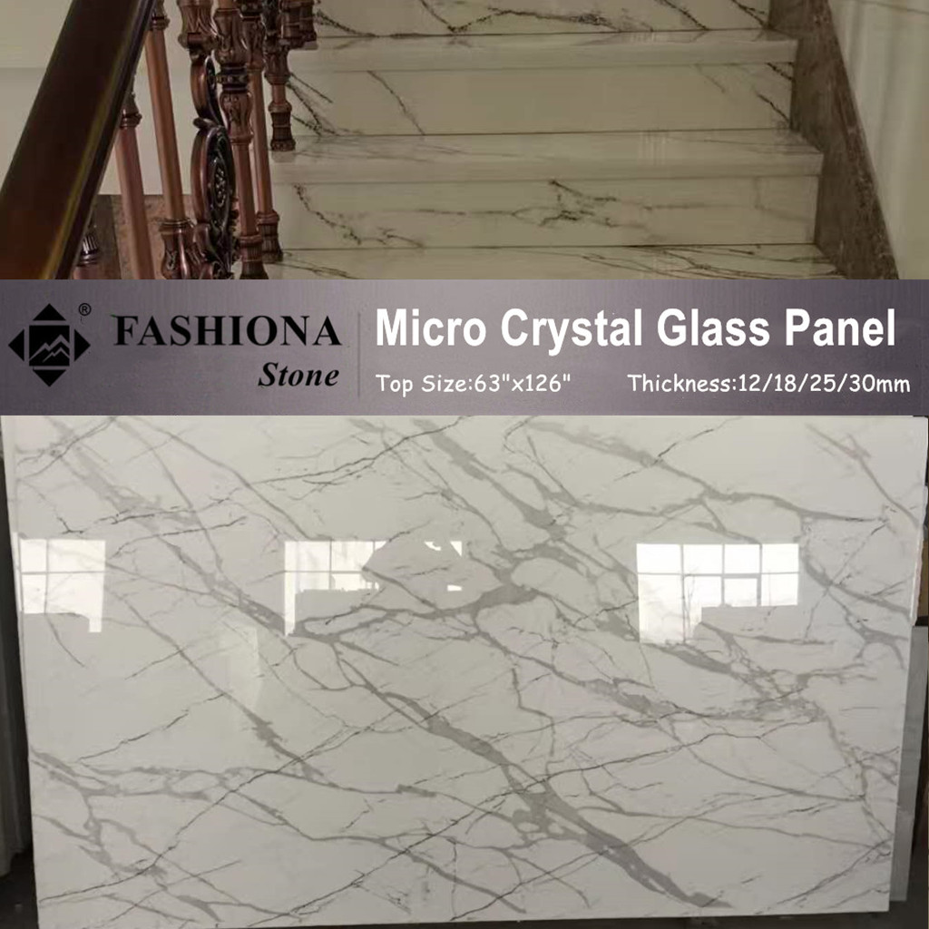 Micro Crystal Glass Stone Polished White Stairs
