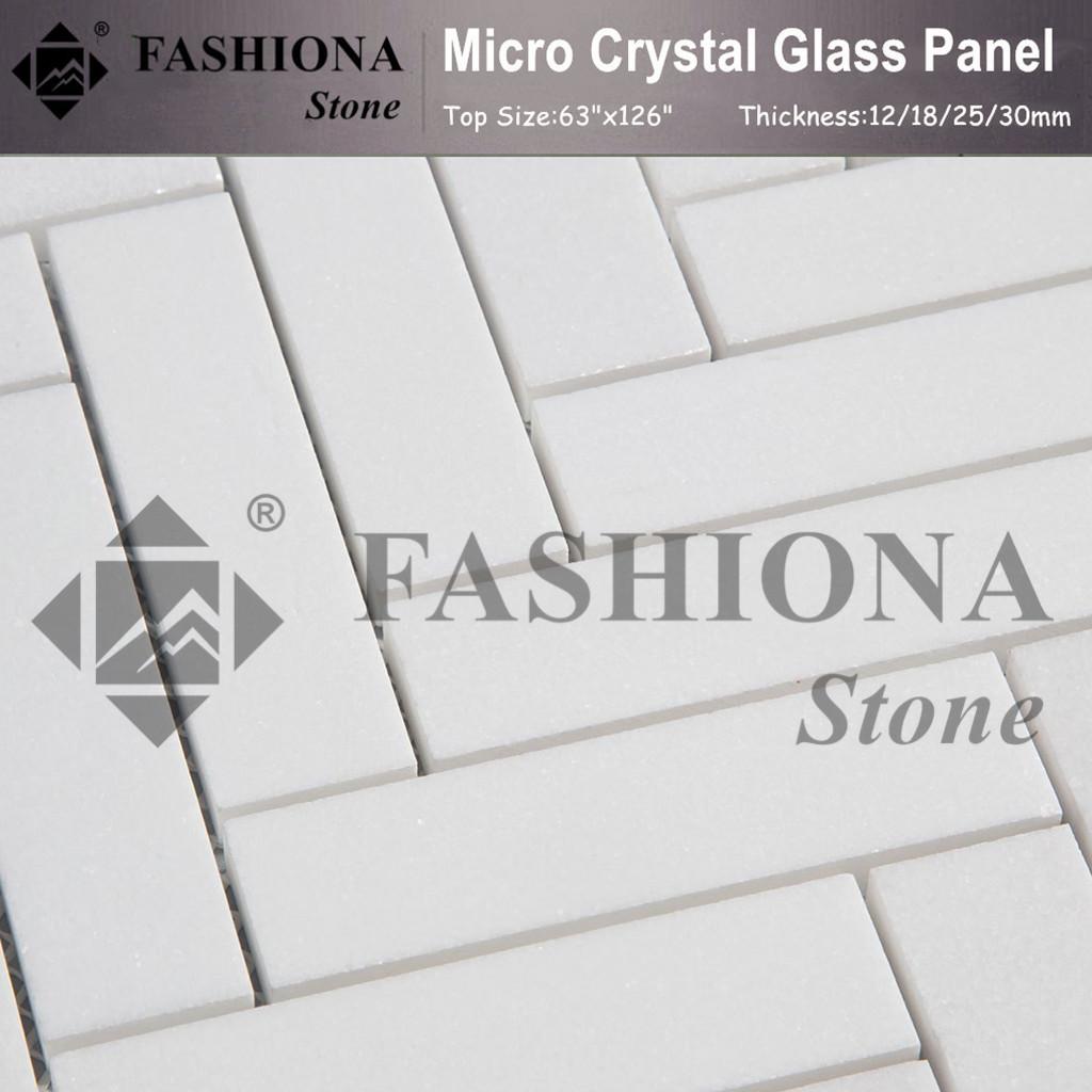 Micro Crystal Glass Stone White Mosaic Wall Stone Tiles