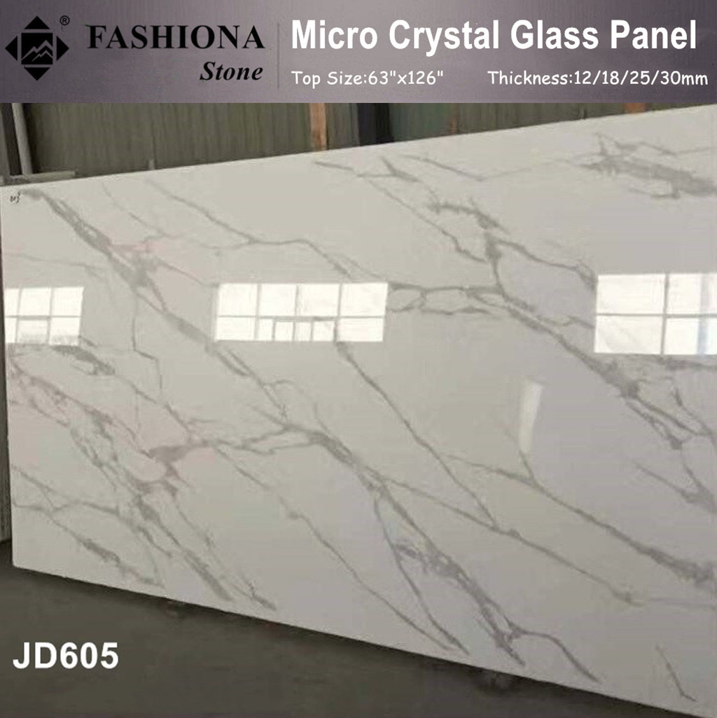 Micro Crystal Glass Stone White Polished Slabs