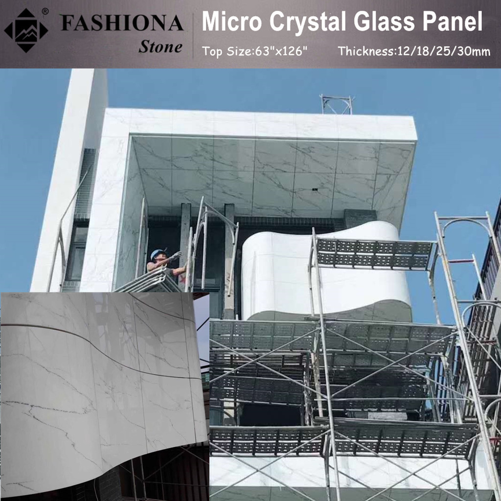 Micro Crystal Glass Stone White Walling Tiles