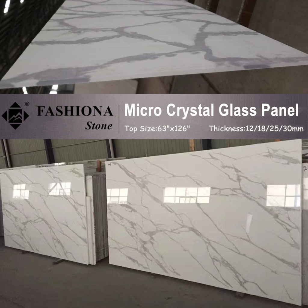 Micro Crystal Glass White Artificial Stone Slabs