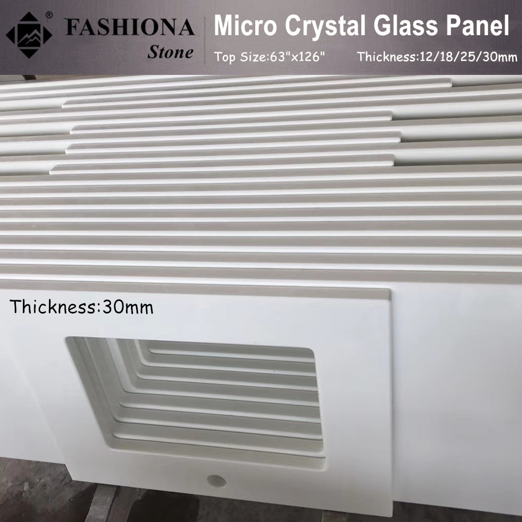 Micro Crystal Glass White Kitchen Countertops