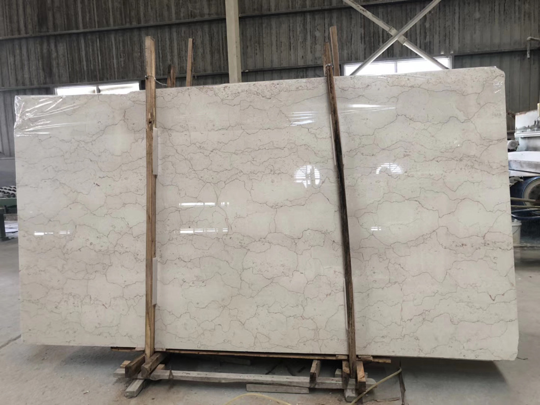Natural Classic Tequila Beige Marble Slabs with Red Line