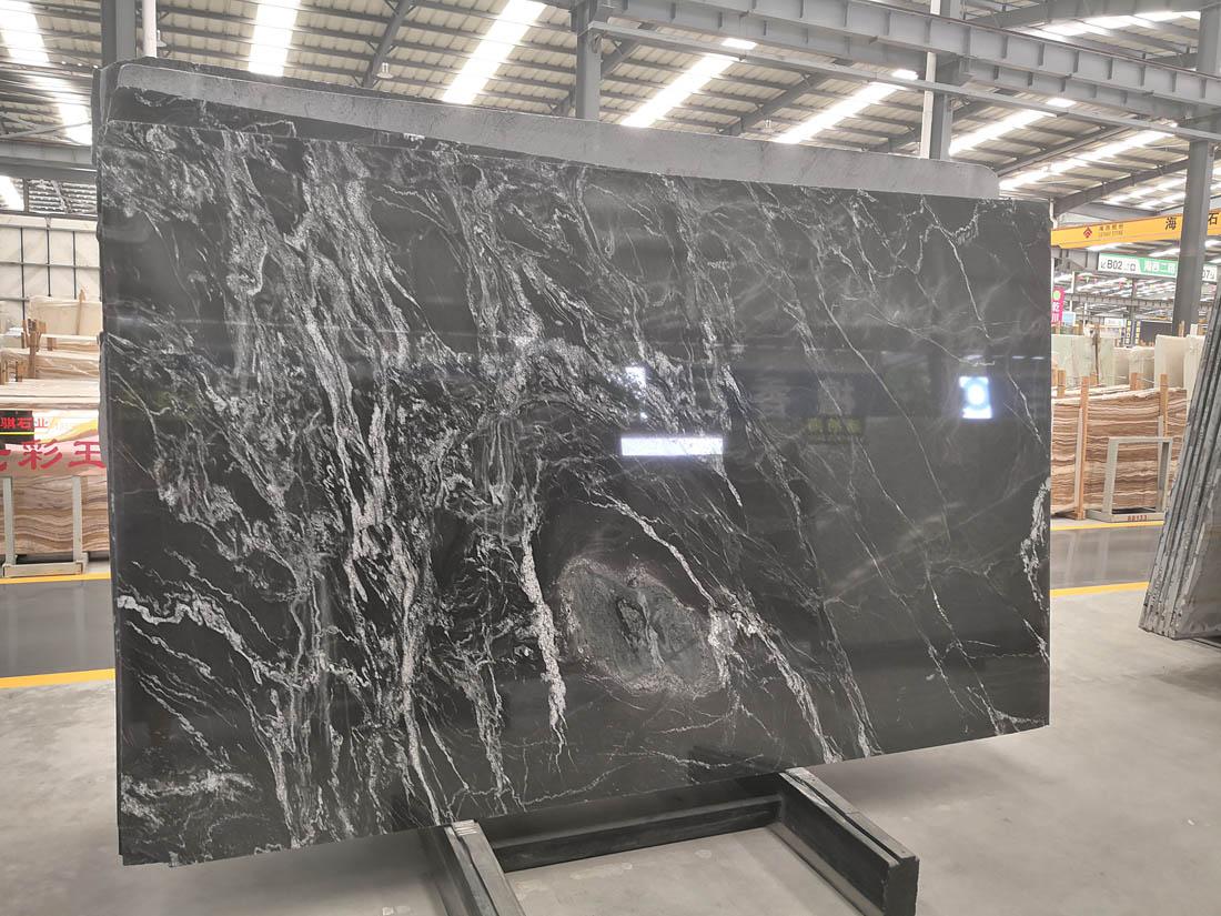 Nero Fantasy Cloud River White Black Granite Slabs