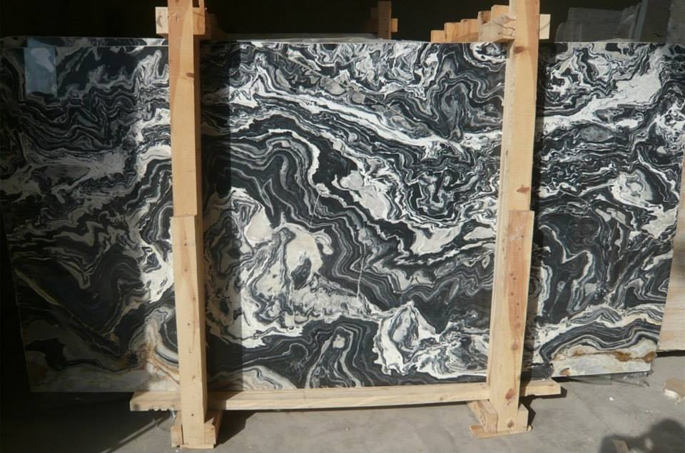 Nero Picasso Black Polished Marble Slabs from Turkey