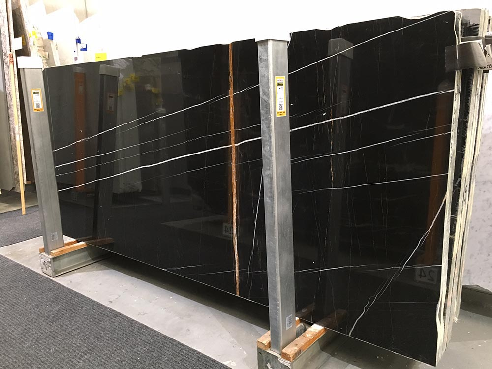 Nero Tempesta Slab Polished Black Marble Stone Slabs