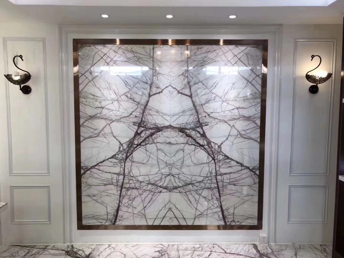 New Lilac New York White Bookmatch Marble Walling Tiles