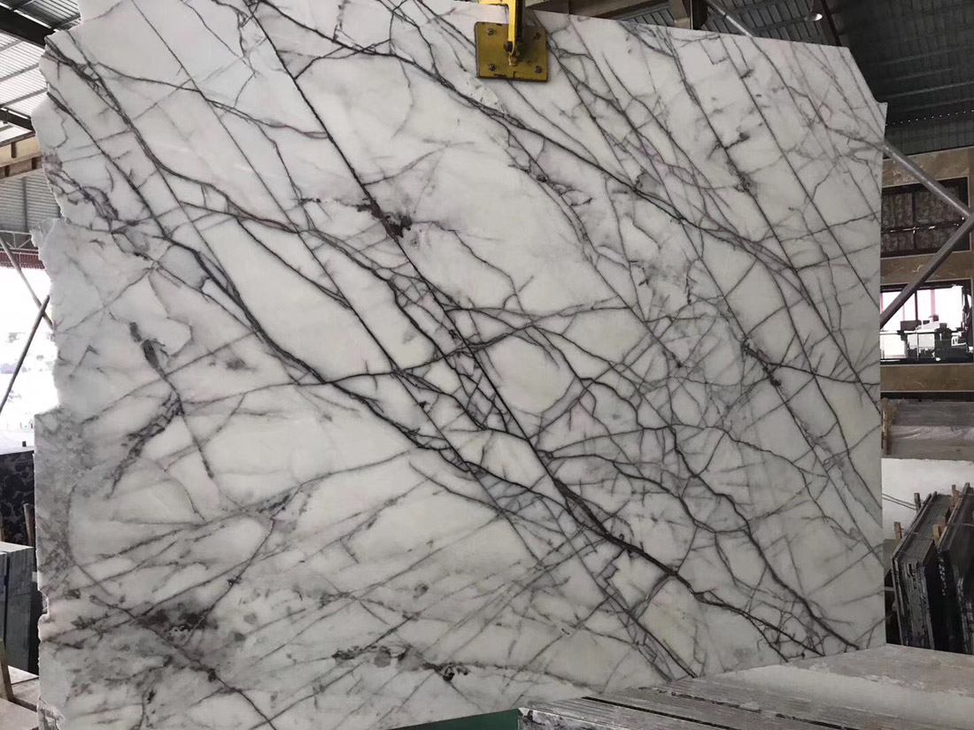 New Lilac New York White Marble with Black Grey Vein Marble Slabs