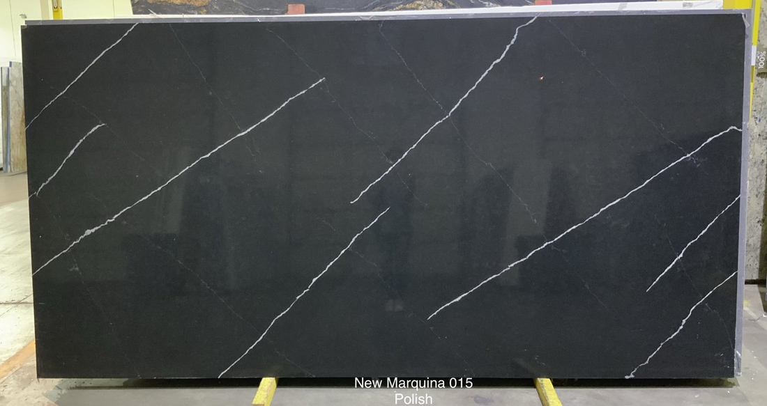 New Marquina Quartz Slabs Polished Black Quartz Slabs