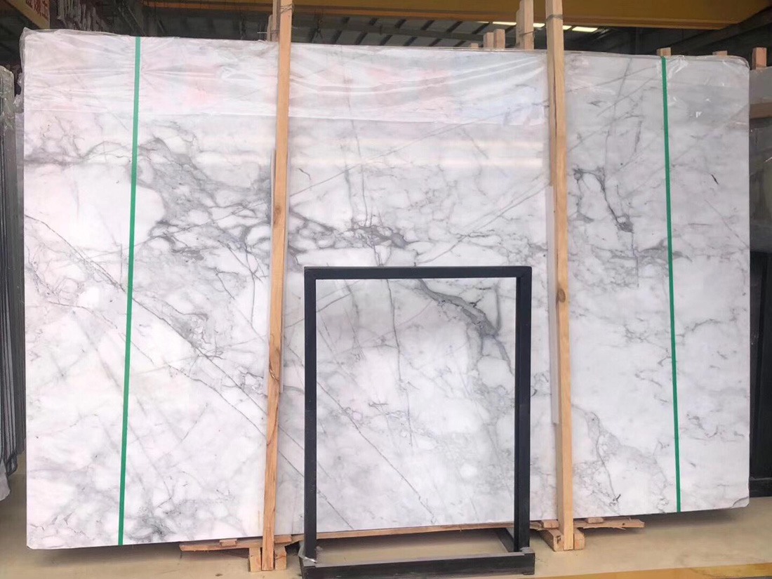 New Statuario White Marble Slabs with Top Quality