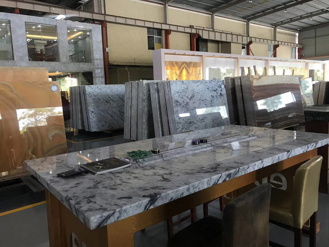 New White Jade Blue Ice Marble Table Tops