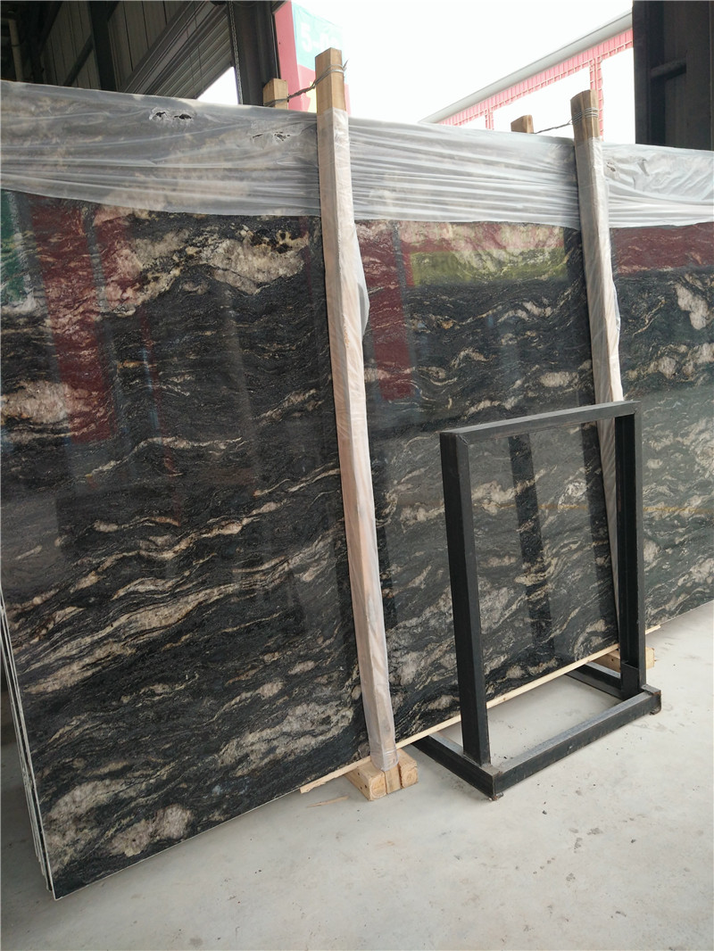 Nice Cosmic Black Granite Big Slabs Polished Granite Slabs