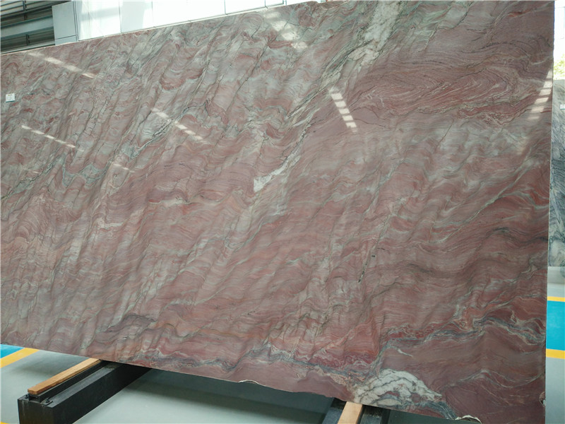 Nice Material Chinese Red Silk Marble Polished Big Slabs