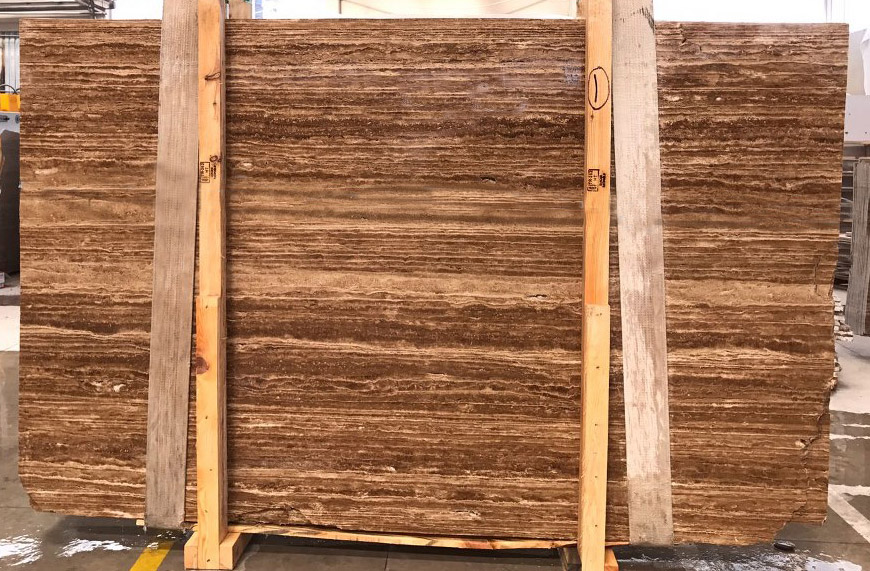 Noce Travertine Vein Cut Polished Brown Marble Slabs