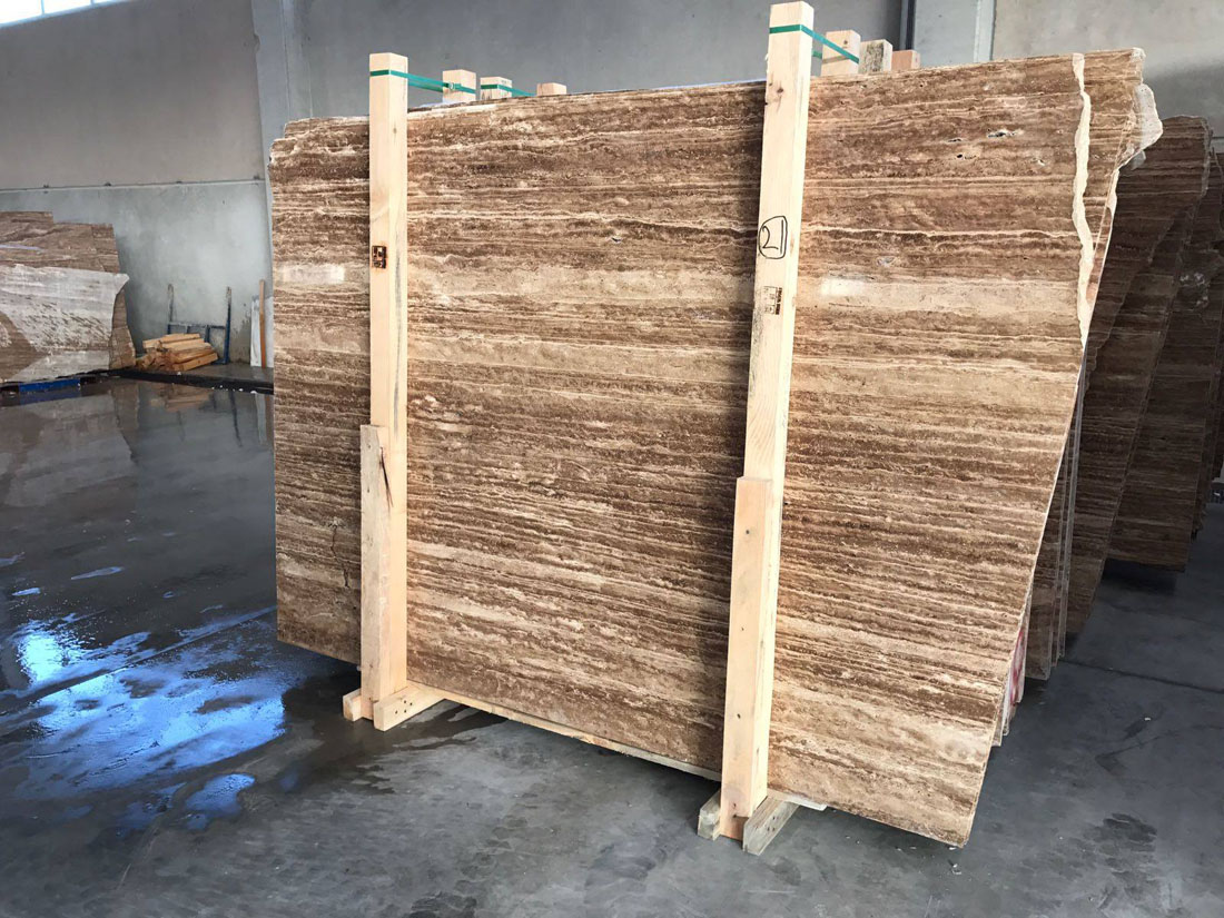 Noche Travertine Vein Cut Slabs Brown Travertine Slabs