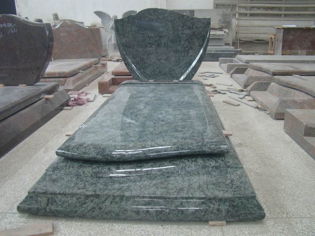Olive Green Polished Granite Tombstones