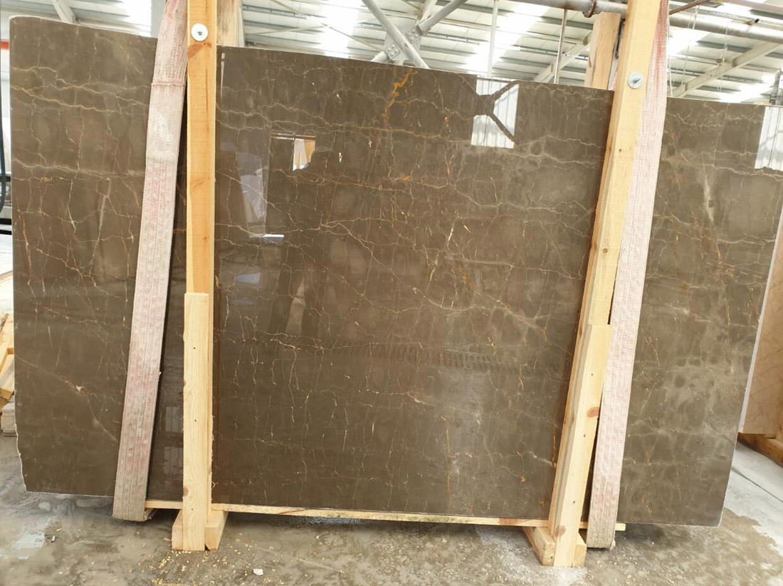 Olive Maron Slabs Polished Brown Marble Slabs with Competitive Price