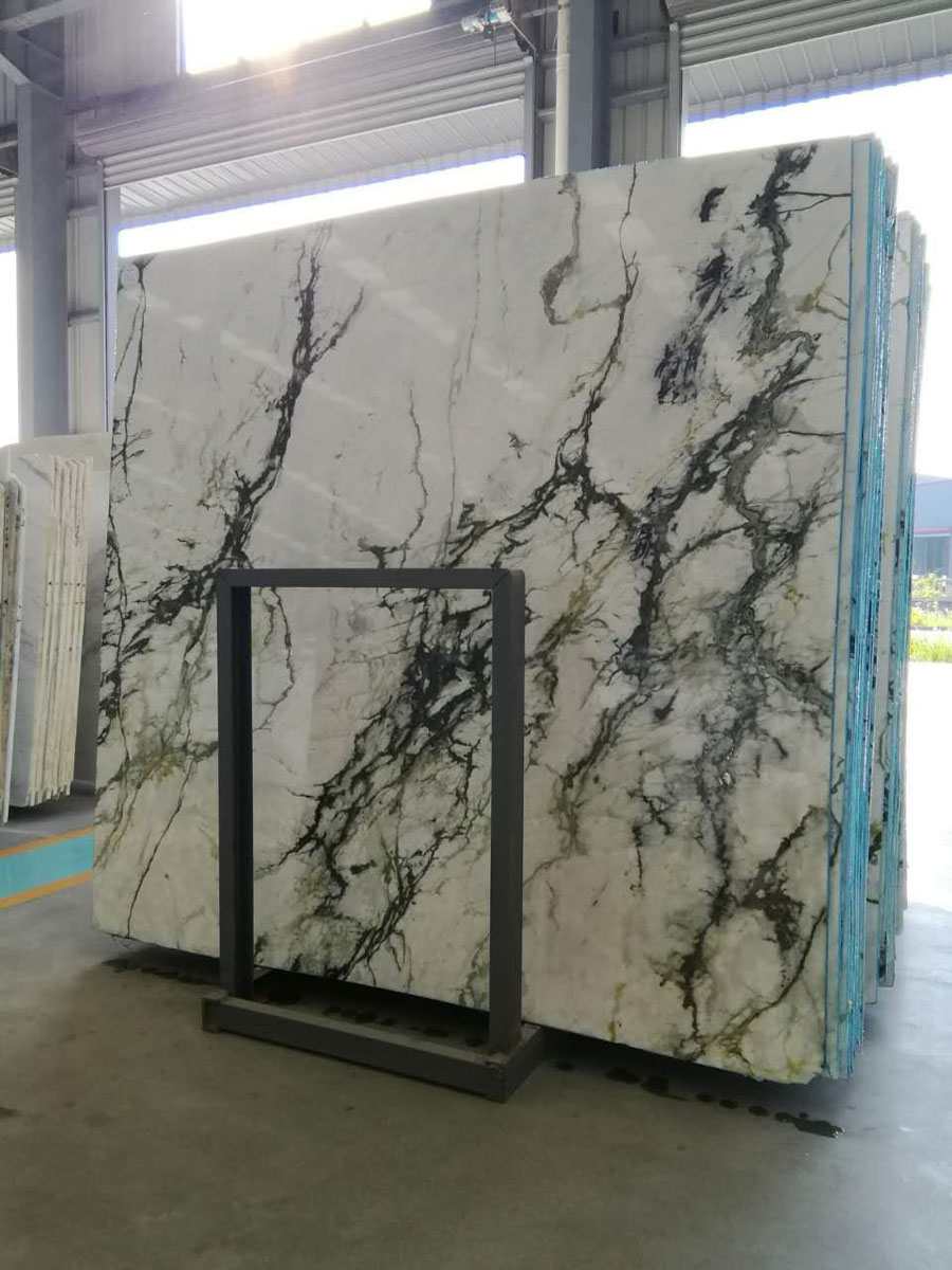 Orchid Jade White Marble Slabs with Green Vein for Interior Decoration