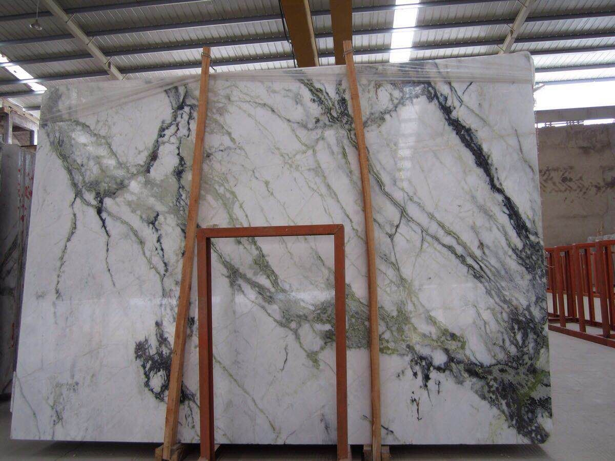 Orchid Jade White Marble Slabs with Green Vein