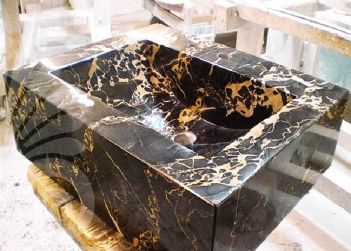 Pakistan Black Gold Portoro Flower Black Gold Marble Sinks