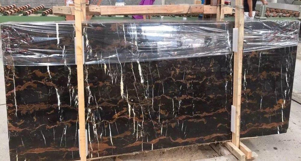 Pakistan Black Gold Portoro Flower Black Gold Marble Slabs
