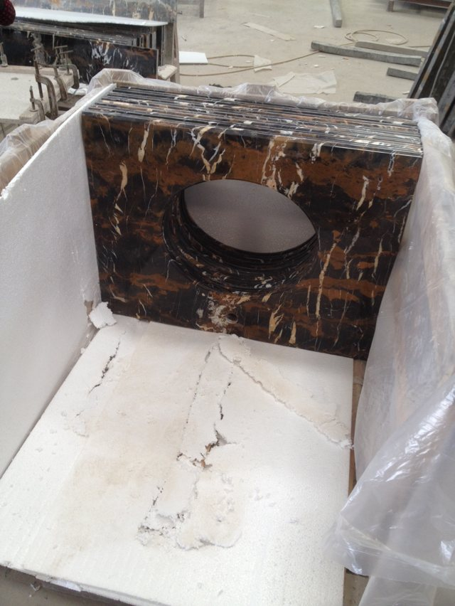 Pakistan Portoro Flower Black Gold Marble Bathroom Vanity Tops