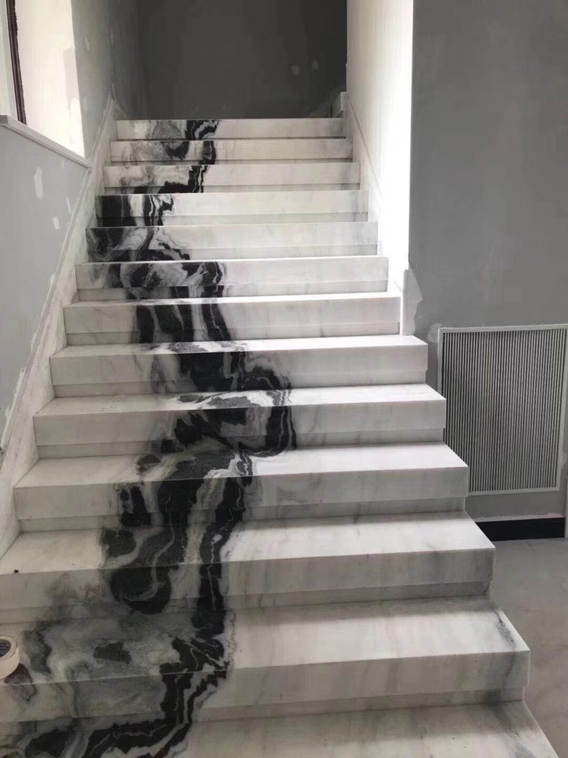 Panda White Marble Steps Stairs