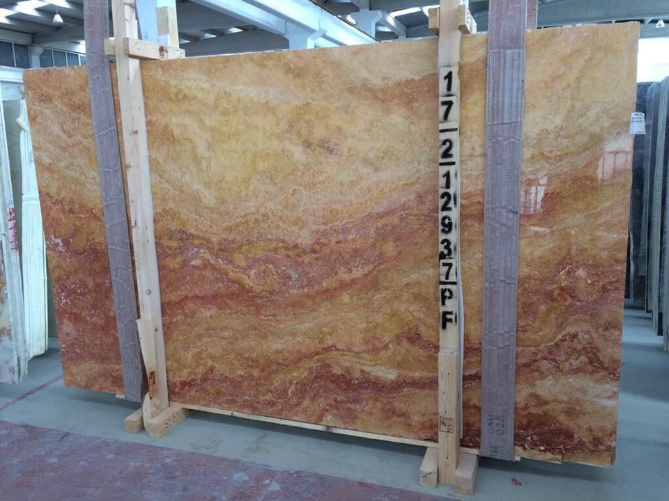 Peach Blend Polished Filled Slabs Brown Marble Slabs