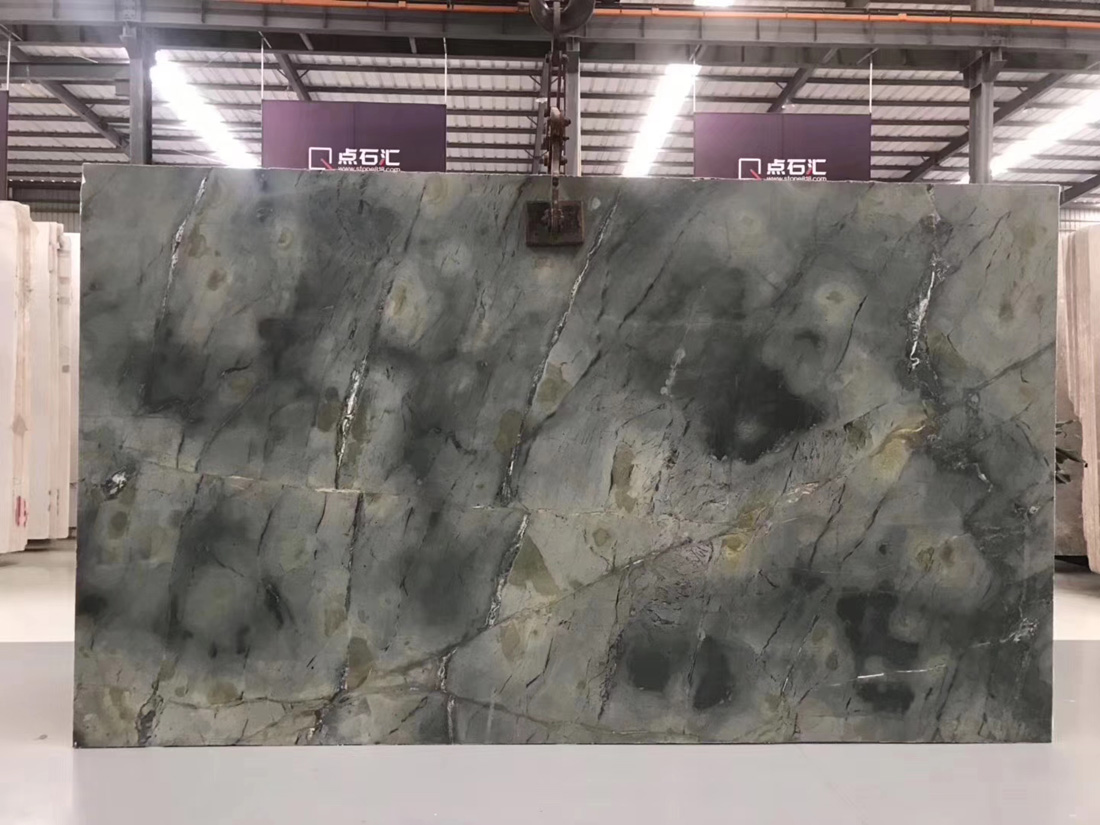 Peacock Green Polished Marble Slabs with High Quality