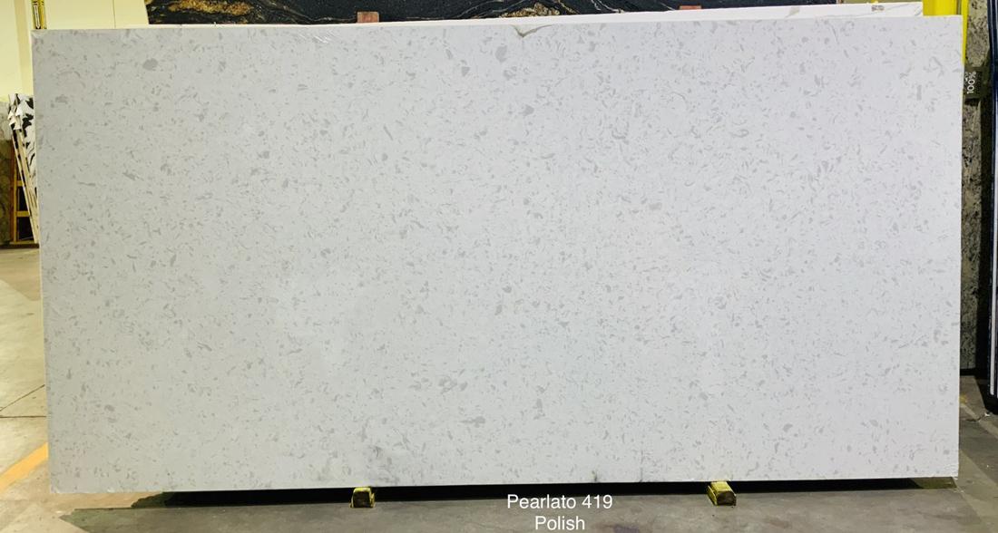 Pearlato White Quartz Slabs Polished Chinese Quartz Stone Slabs