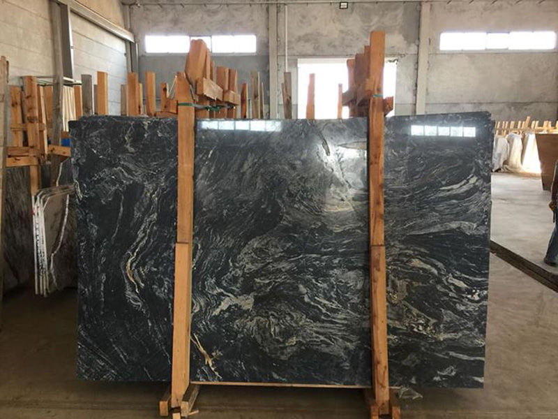 Picasso Black Polished Marble Slabs