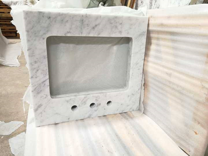 Pinished Carrara White Marble Vanity Tops