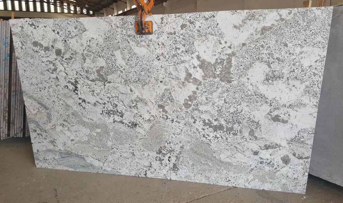 Polished Alpine White Granite Slabs Indian Granite Slabs