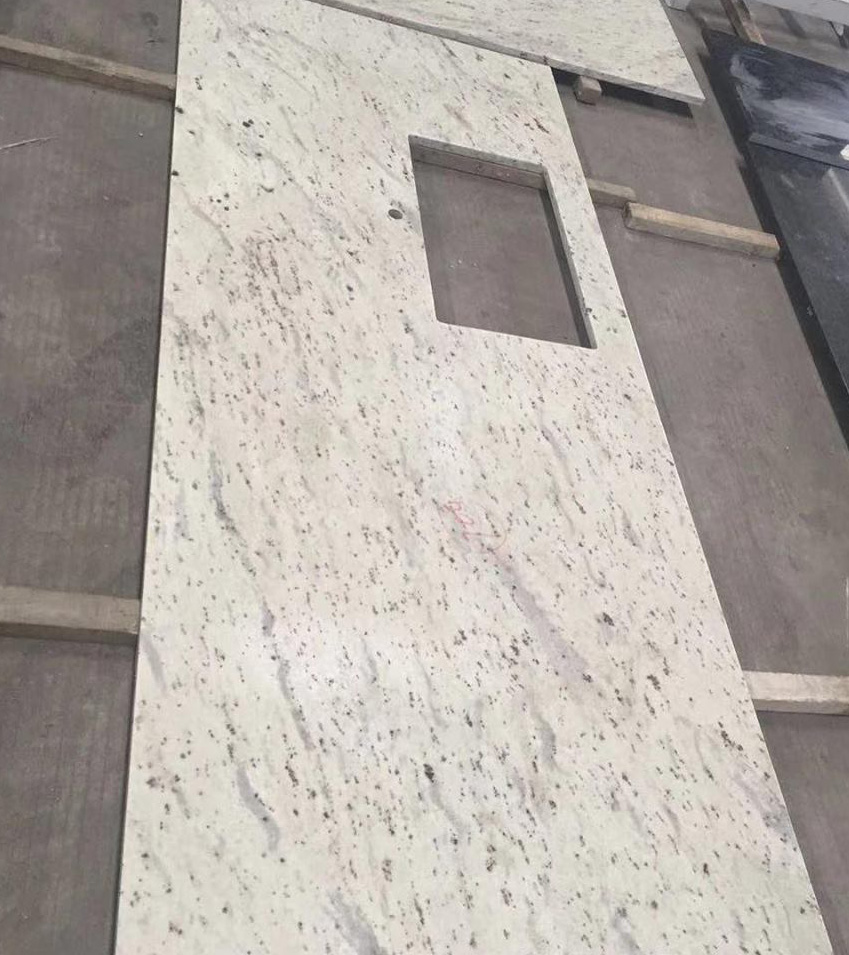 Polished Andrameda White Granite Kitchen Countertops